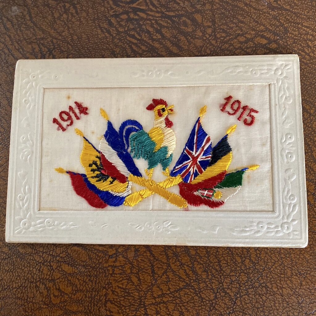 embroidered postcard sent home from the front in WW1