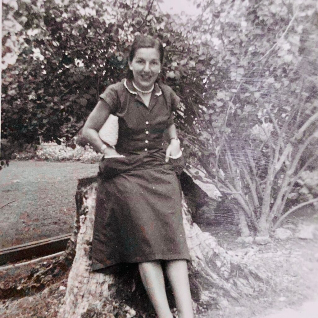 Phyllis in the school grounds March 1952