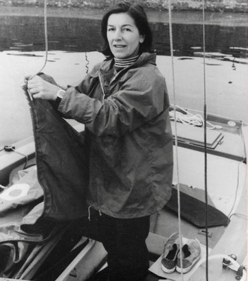 Phyllis on her boat in harbour