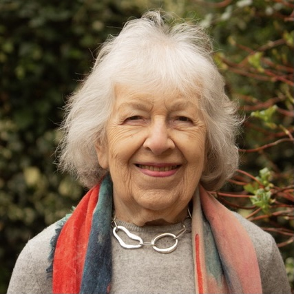 Head and shoulders of Phyllis in her garden