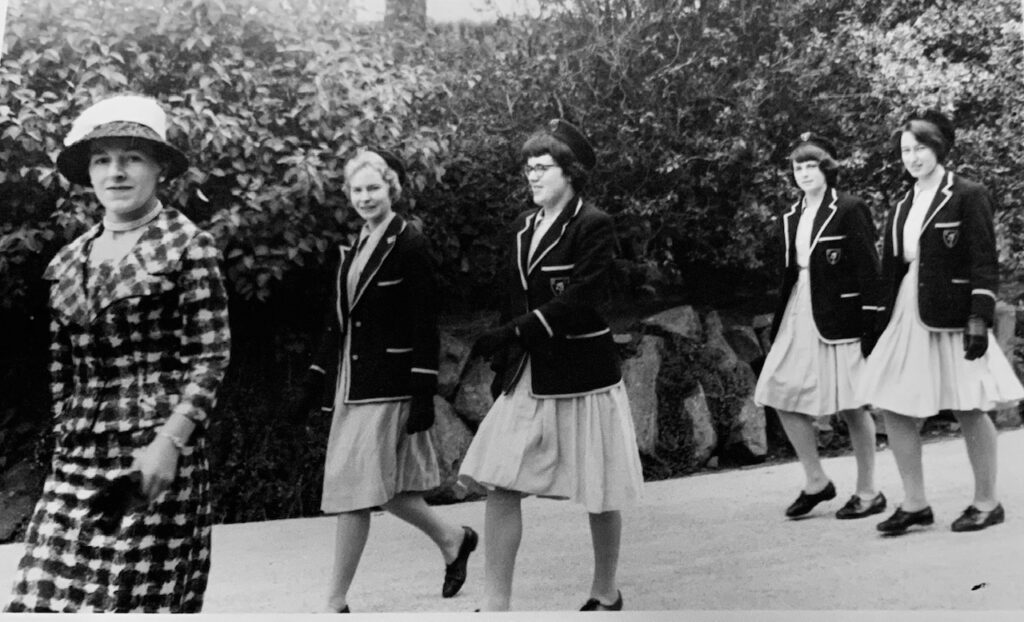 Phyllis with schoolgirls on Prize day