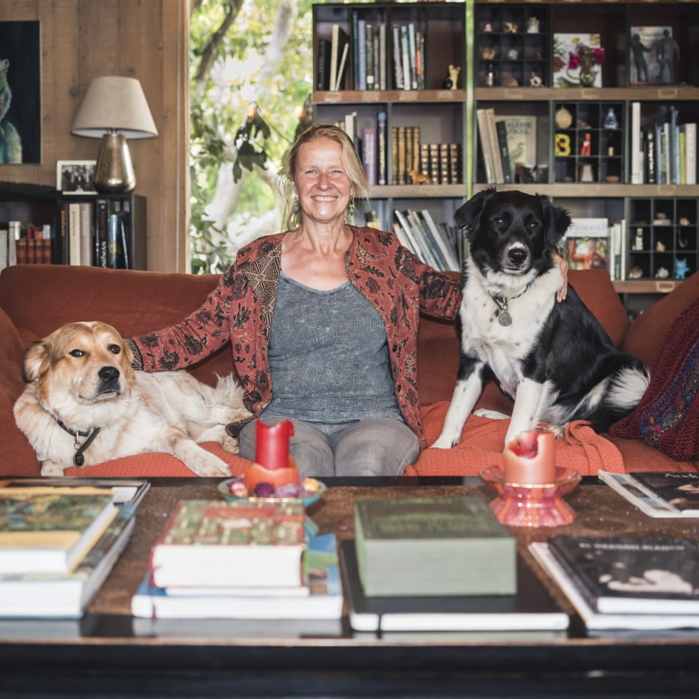 Cornelia Relaxing with her dogs