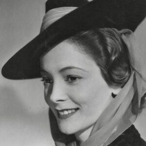 picture of Jill Furze taken at the Ealing Studios in 1939 wearing a hat