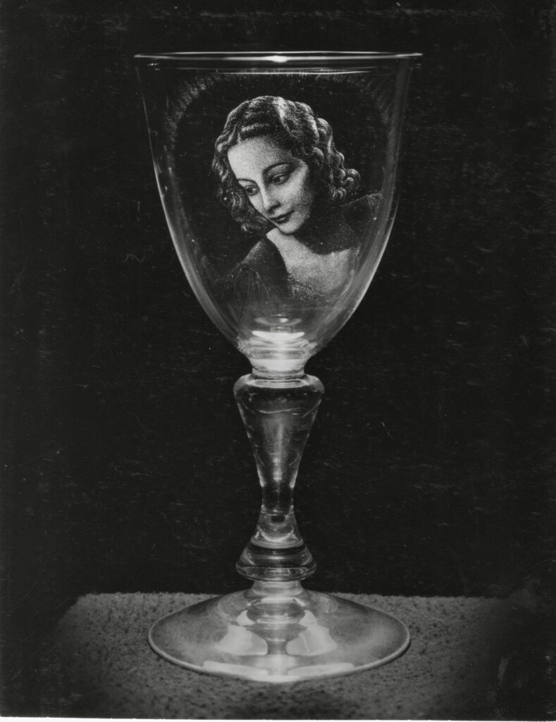 Portrait of Jill engraved on a wine glass by Laurence Whistler 1958
