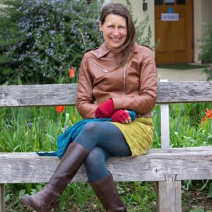 Catherine in the garden she designed for the Quaker Meeting House