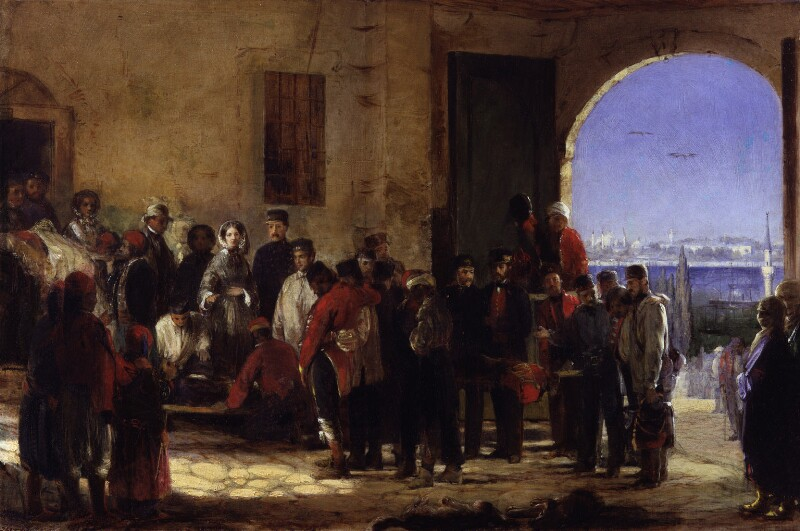 oil painting of Florence receiving the wounded at Scutari by Jerry Barrett 1856