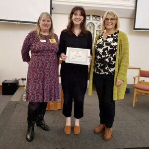 Bronwen Steele one of the winners being presented with her certificate by Club President Eleanor and HSS Project Manager Jenny